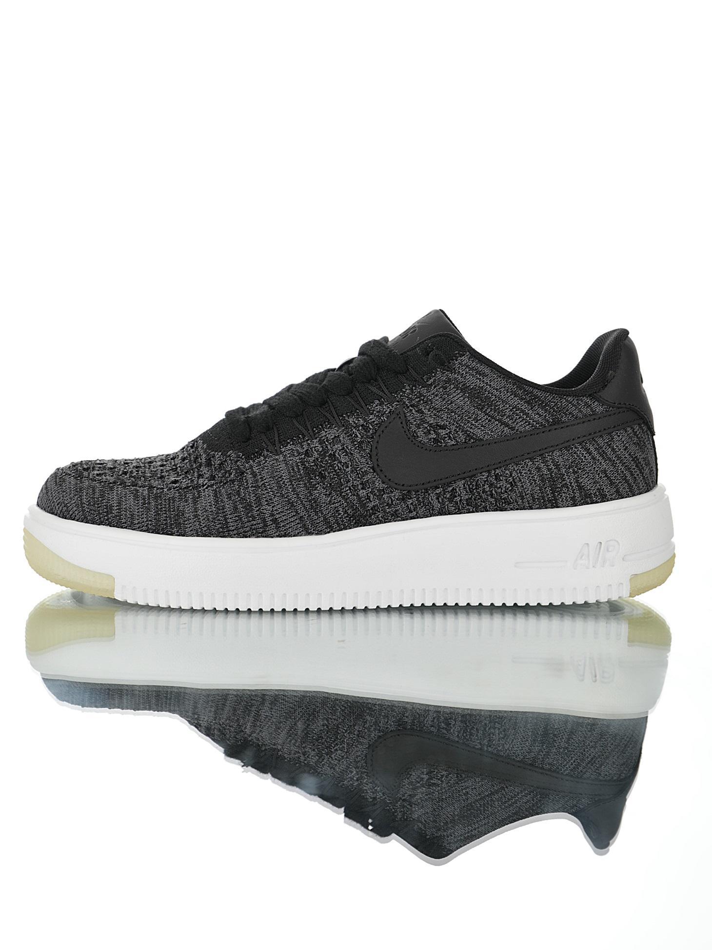 "Nike Air Force 1 Flyknit""Grey Black White""2.0"